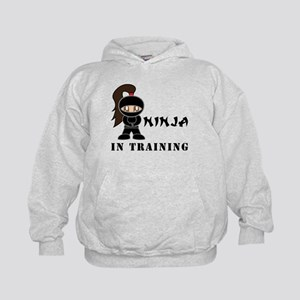 Brunette Ninja In Training Kids Hoodie