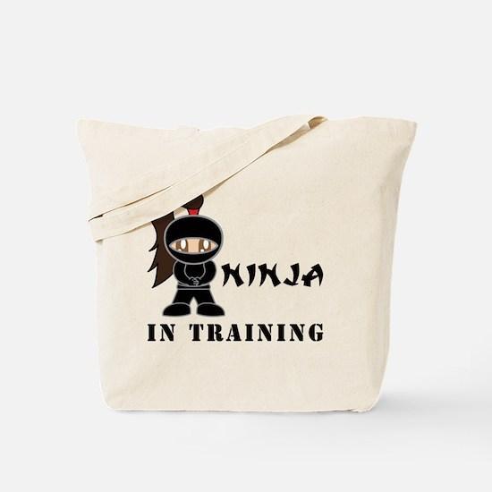 Brunette Ninja In Training Tote Bag