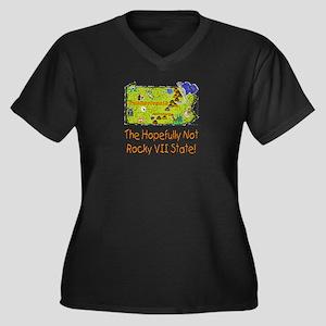 PA-Rocky! Women's Plus Size V-Neck Dark T-Shirt