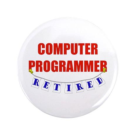 "Retired Computer Programmer 3.5"" Button (100 pack)"