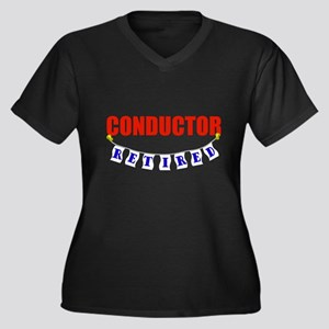 Retired Conductor Women's Plus Size V-Neck Dark T-