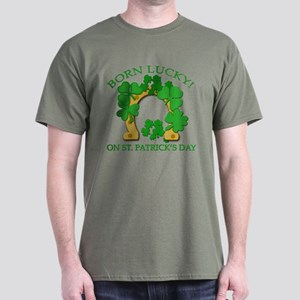 Born Lucky on St. Pats Day Dark T-Shirt