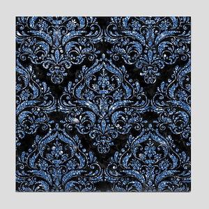 DAMASK1 BLACK MARBLE & BLUE GLITTER ( Tile Coaster