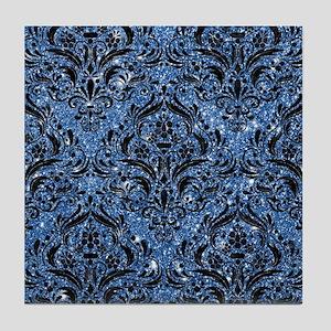 DAMASK1 BLACK MARBLE & BLUE GLITTER Tile Coaster
