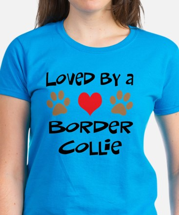 Loved By A Border Collie Women's Dark T-Shirt