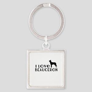 I Love Beauceron Square Keychain