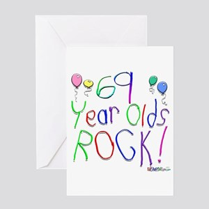 69 Year Olds Rock ! Greeting Card