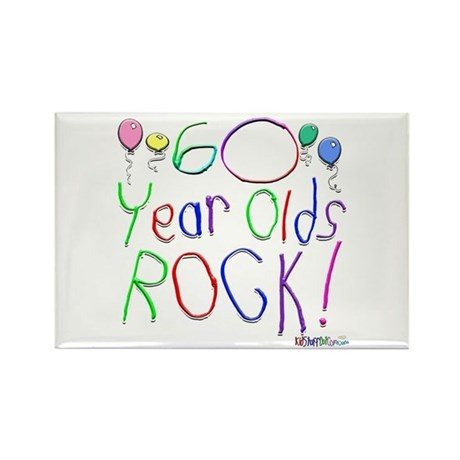 60 Year Olds Rock ! Rectangle Magnet (100 pack)