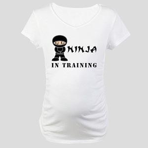 Brown Eyes Ninja In Training Maternity T-Shirt