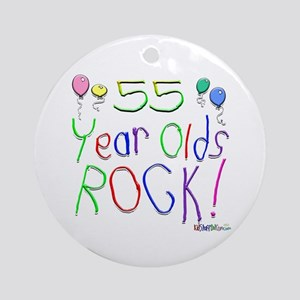 55 Year Olds Rock ! Ornament (Round)