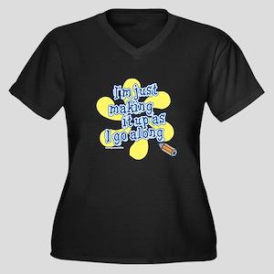 Making it Up Women's Plus Size V-Neck Dark T-Shirt