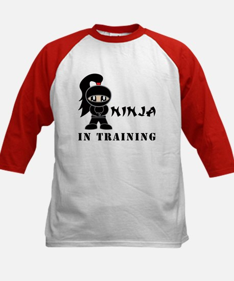 Girl Ninja In Training Kids Baseball Jersey