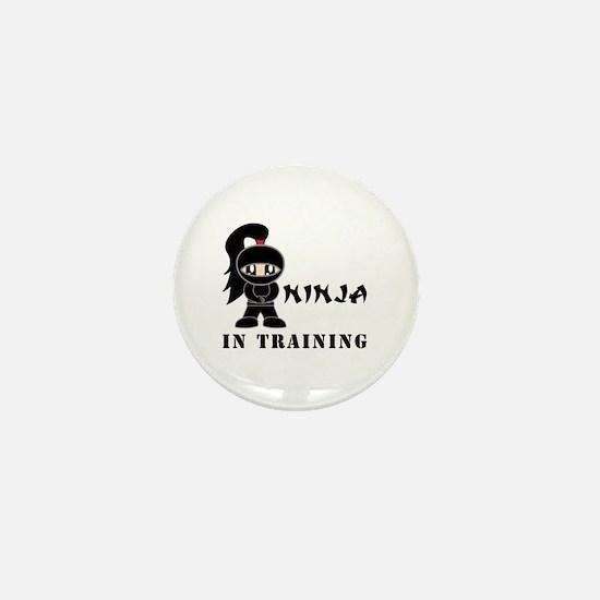 Girl Ninja In Training Mini Button