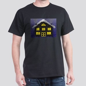 Christmas Log Chalet Silhouette In The Sno T-Shirt