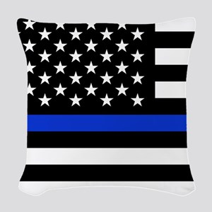 Thin Blue Line American Flag Woven Throw Pillow