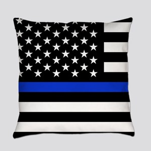 Thin Blue Line American Flag Everyday Pillow
