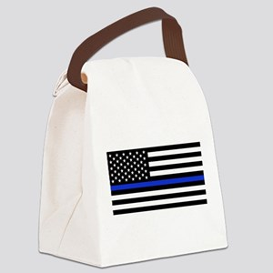 Thin Blue Line American Flag Canvas Lunch Bag