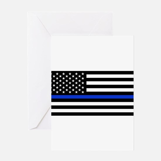 Thin Blue Line American Flag Greeting Cards