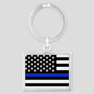Thin Blue Line American Flag Keychains
