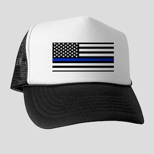 Thin Blue Line American Flag Trucker Hat