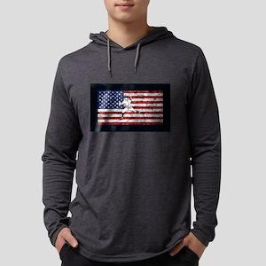 Baseball Player On American Fl Long Sleeve T-Shirt