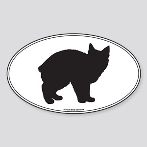 Manx Silhouette Oval Sticker
