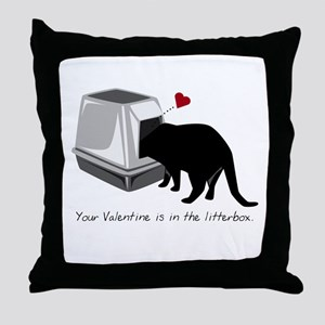Litterbox Valentines Throw Pillow