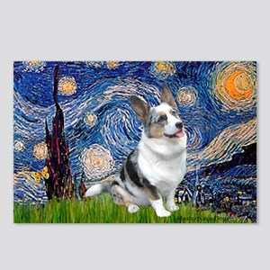 Starry Welsh Corgi (Bl.M) Postcards (Package of 8)