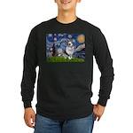 Starry Welsh Corgi (Bl.M) Long Sleeve Dark T-Shirt