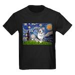 Starry Welsh Corgi (Bl.M) Kids Dark T-Shirt