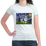 Starry Welsh Corgi (Bl.M) Jr. Ringer T-Shirt