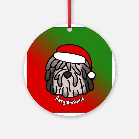 Cartoon Bergamasco Christmas Ornament (Fawn)