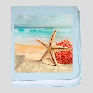 Starfish on Beach baby blanket