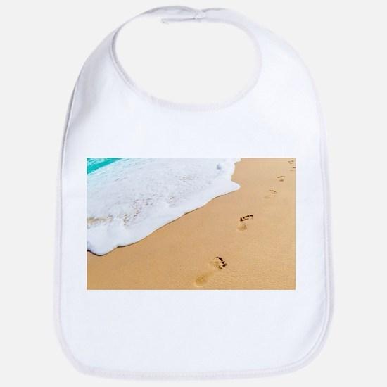 Footprints On Sandy Beach Baby Bib