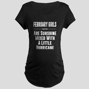 February girls are sunshine mixe Maternity T-Shirt