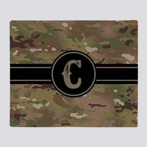 Army Camouflage Monogram: Letter C Throw Blanket