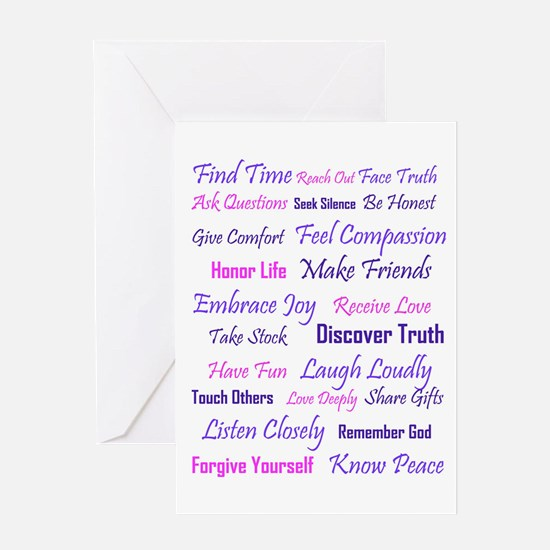Words to Live By Greeting Cards