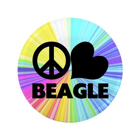 "Peace Love Beagle 3.5"" Button"