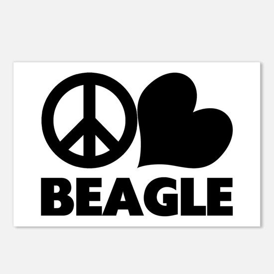 Peace Love Beagle Postcards (Package of 8)