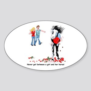Horse's Valentine Revenge Oval Sticker