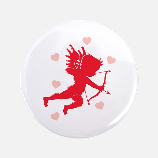 """Cupid and Hearts 3.5"""" Button"""