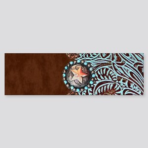 Western turquoise tooled leather Bumper Sticker