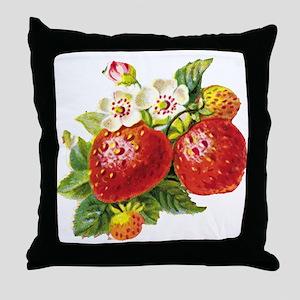 Retro Strawberry Throw Pillow