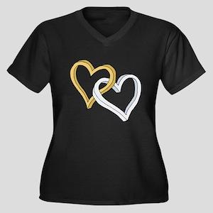 GOLD & SILVER HEARTS Women's Plus Size V-Neck Dark