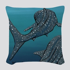 Whale Sharks Woven Throw Pillow