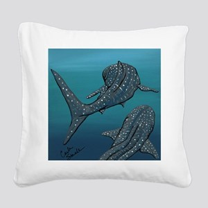 Whale Sharks Square Canvas Pillow