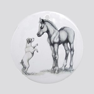 Jack russle terrier, and foal Ornament (Round)
