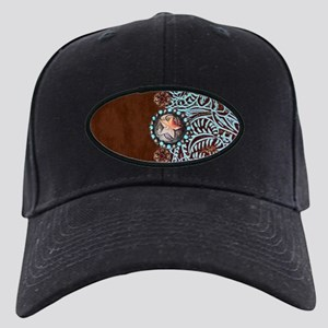 Western turquoise tooled leat Black Cap with Patch