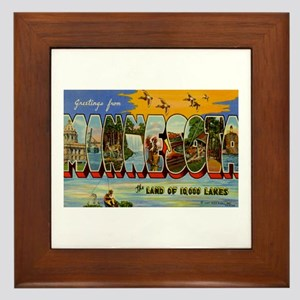 Greetings from Minnesota Framed Tile