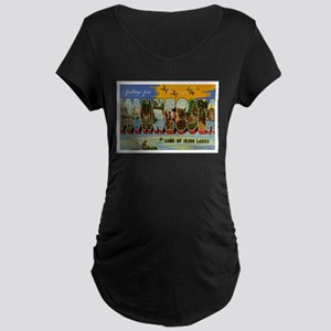 Greetings from Minnesota Maternity Dark T-Shirt